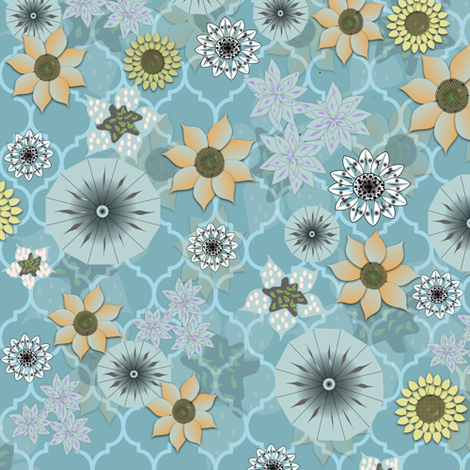Bohemian Blues Flower Power ++ fabric by gargoylesentry on Spoonflower - custom fabric