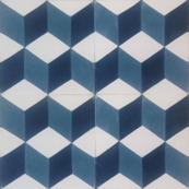 3D Blue Cubes Hand Painted Cement Tile