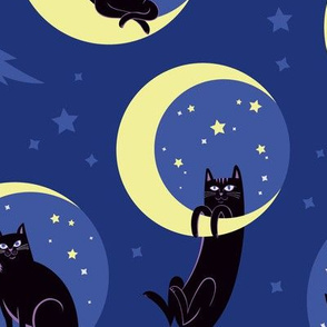 Moonlight Cats in Night Sky