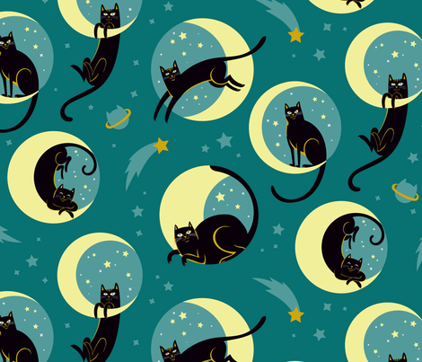 Moonlight Cats in Teal Sky fabric by pinkowlet on Spoonflower - custom fabric