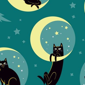 Moonlight Cats in Teal Sky
