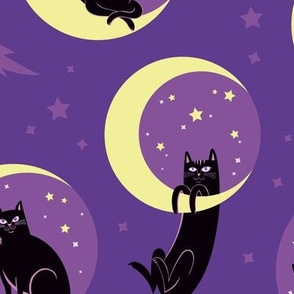 Moonlight Cats in Purple Sky