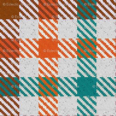 Tri Color Brown Orange and Teal Gingham