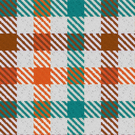 Tri Color Brown Orange and Teal Gingham fabric by eclectic_house on Spoonflower - custom fabric