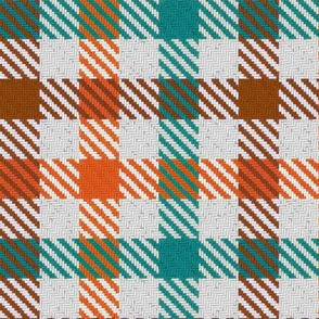Tri Color Brown Orange and Teal Gingham