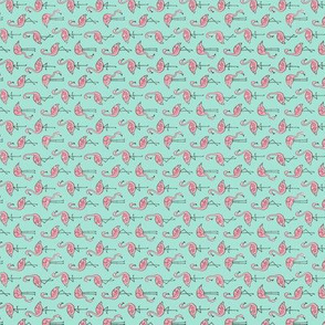 Flamingo Pink on Mint Tiny Rotated