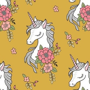 Dreamy Unicorn & Vintage Boho Flowers on Yellow Mustard
