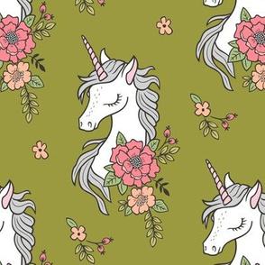 Dreamy Unicorn & Vintage Boho Flowers on Green Lime Olive