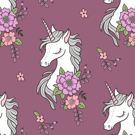 Dreamy Unicorn & Vintage Boho Flowers on Mauve  fabric by caja_design on Spoonflower - custom fabric
