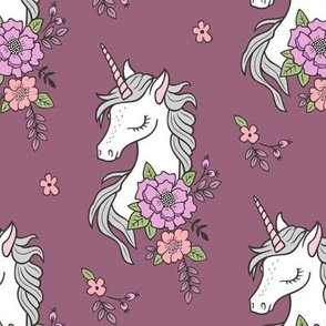 Dreamy Unicorn & Vintage Boho Flowers on Mauve
