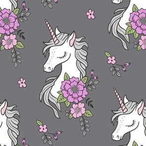 Dreamy Unicorn & Vintage Boho Purple Flowers on Dark Grey