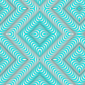 Optic Waves Turquoise and White