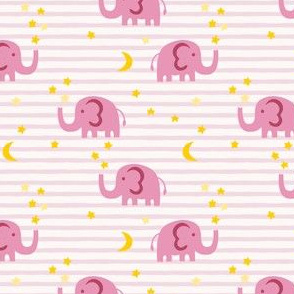 Elephant and stars - pink