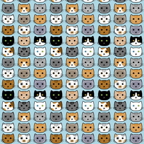 Kitty Faces Small fabric by amber_morgan on Spoonflower - custom fabric