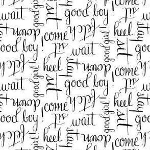 17-01V Dog Words || Calligraphy Pet Animal font black white _ Miss Chiff Designs
