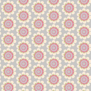 Abstract flower || Mid-century Modern geometric floral home decor 50s  || Gray Cream pink green _ Miss Chiff Designs
