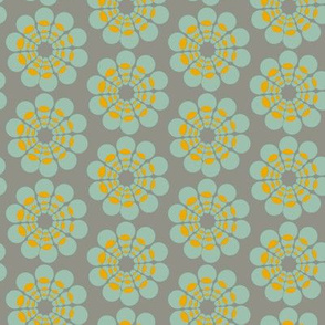 Mid-Century modern flower || Green gray blue gold 50s _ Miss Chiff Designs