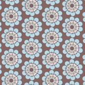 Mid-Century modern flower || Geometric floral Blue pink brown  green 50s _ Miss Chiff Designs