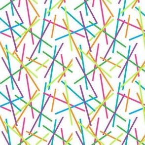 Retro Colored Sticks, Candy Sprinkles, Birthday Decor