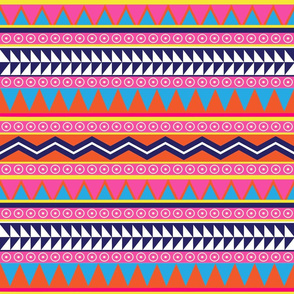 Bright Pink and Orange Neon Tribal Print