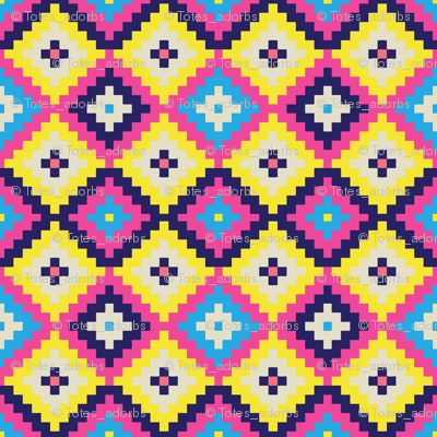 Large Pixel Diamonds Neon Pink Yellow and Blue