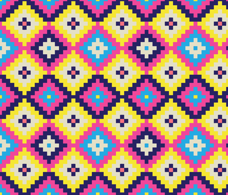 Large Pixel Diamonds Neon Pink Yellow and Blue fabric by totes_adorbs on Spoonflower - custom fabric