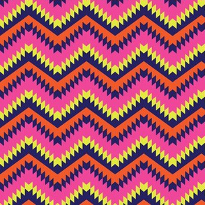 Neon Pink and Orange Chevron Pattern