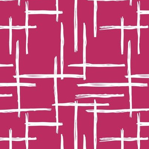 Abstract geometric raster checkered stripe stroke and lines trend pattern grid aubergine maroon