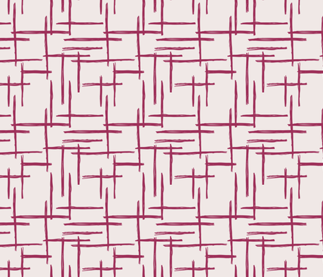 Abstract geometric raster checkered stripe stroke and lines trend pattern grid aubergine maroon fabric by littlesmilemakers on Spoonflower - custom fabric