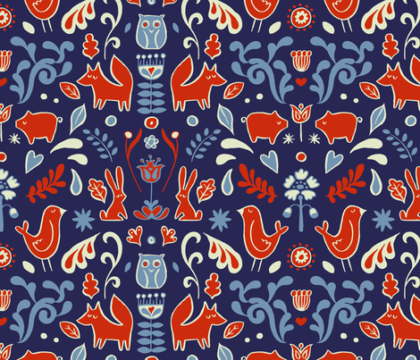 Forest Symmetry fabric by seesawboomerang on Spoonflower - custom fabric