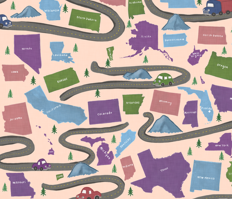 American Road Trip on Pink fabric by landpenguin on Spoonflower - custom fabric