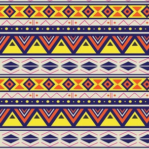 Yellow and Orange  Fancy Tribal with Blue