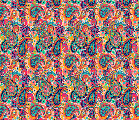 Multicolor Paisley Seamless Pattern on Orange fabric by totes_adorbs on Spoonflower - custom fabric