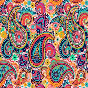 Multicolor Paisley Seamless Pattern on Orange
