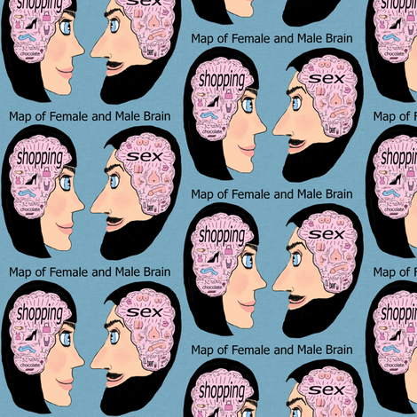 map of female and male brain, adult content, small scale, pink blue black fabric by amy_g on Spoonflower - custom fabric