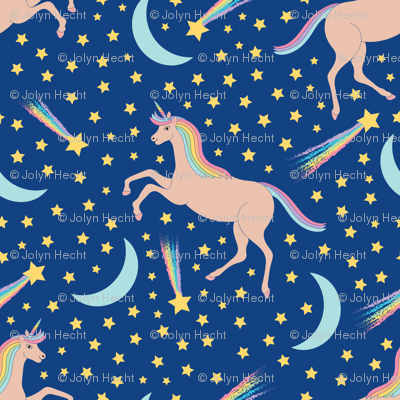 Unicorns n stars fabric jolynart spoonflower for Space unicorn fabric