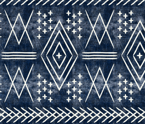 vintage moroccan (large scale)  on blue fabric by littlearrowdesign on Spoonflower - custom fabric