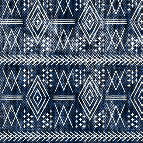 vintage moroccan (small scale) on blue fabric by littlearrowdesign on Spoonflower - custom fabric