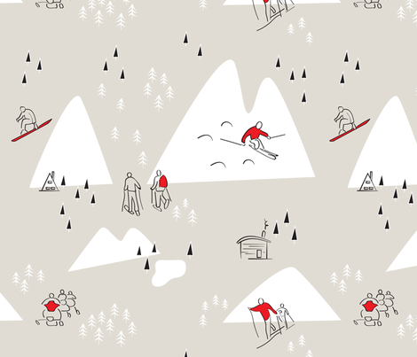 Winter Life - Tan and Red - Large fabric by whyitsme_design on Spoonflower - custom fabric