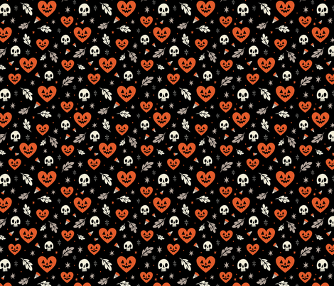 I Heart Halloween (Black) fabric by therewillbecute on Spoonflower - custom fabric