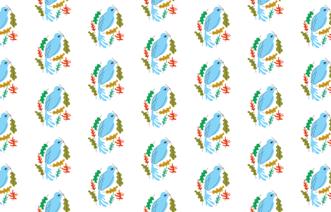 Birdie & Leaves fabric by bashfulbirdie on Spoonflower - custom fabric