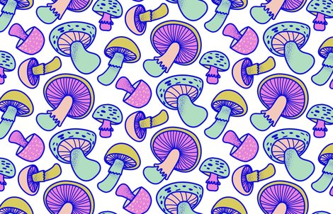 Retro Mushrooms Light fabric by bashfulbirdie on Spoonflower - custom fabric