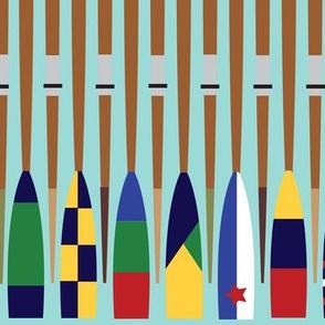 Rowing Oars aqua