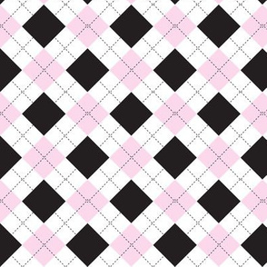 Argyle pink and black
