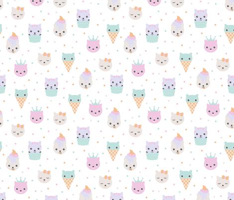 Kawaii love sweet little kitty cat kitten japan lovers design blue pink fabric by littlesmilemakers on Spoonflower - custom fabric