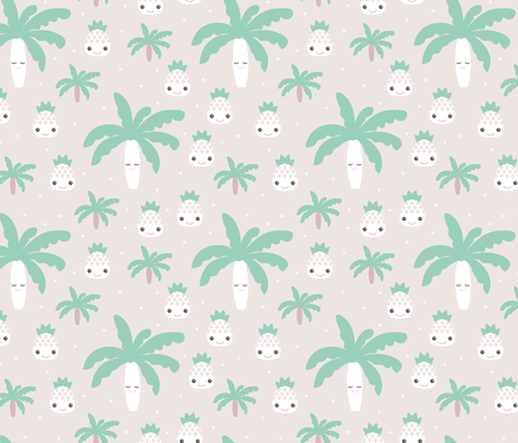 Kawaii love tropical pineapples and palm tree summer cuteness japan lovers design green gender neutral fabric by littlesmilemakers on Spoonflower - custom fabric