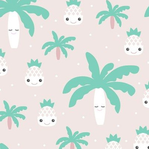 Kawaii love tropical pineapples and palm tree summer cuteness japan lovers design green gender neutral