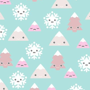 Kawaii love winter wonderland christmas trees and snow flakes cuteness japan lovers design green gender neutral