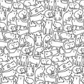 sketch cats pattern blackandwhite SMALL