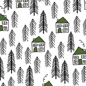 cabin fabric // forest fir tree forest trees black and white cute cabin green roof